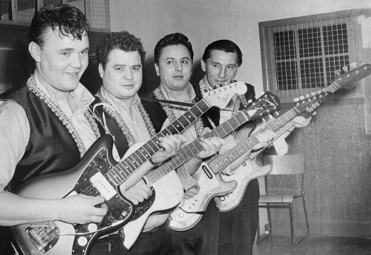 Courtesy of Glenbow Archives. No: PA-2807-2779.  Muchachoes, Calgary, Alberta.  A Métis band from Calgary. [ca. December 19, 1967]. L-R: Rick Anderson; Louis Dumont; Charles Dumont; Tony Lavalley.