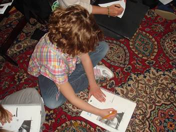school programs redhead drawing on carpet