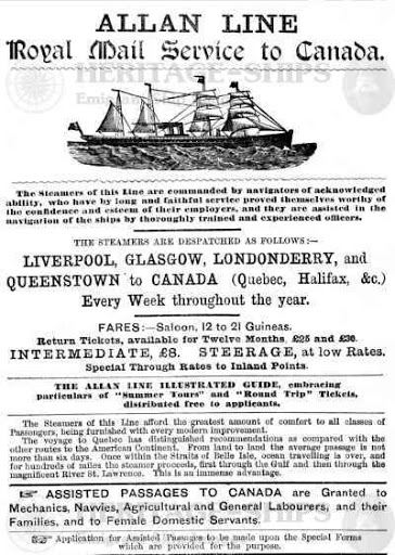 Advertisement for passenger travel via ship from Britain to Canada