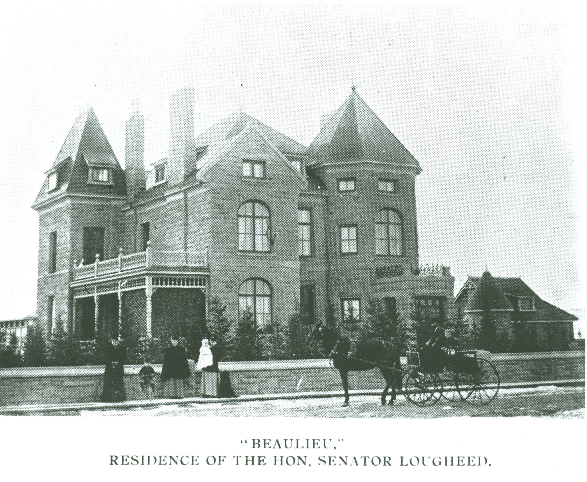 Black and white image c. 1903 of sandstone mansion with people and a carriage in front.