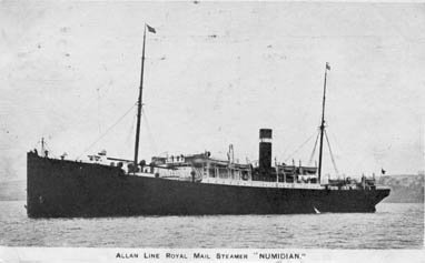 Black and white image of passenger ship.