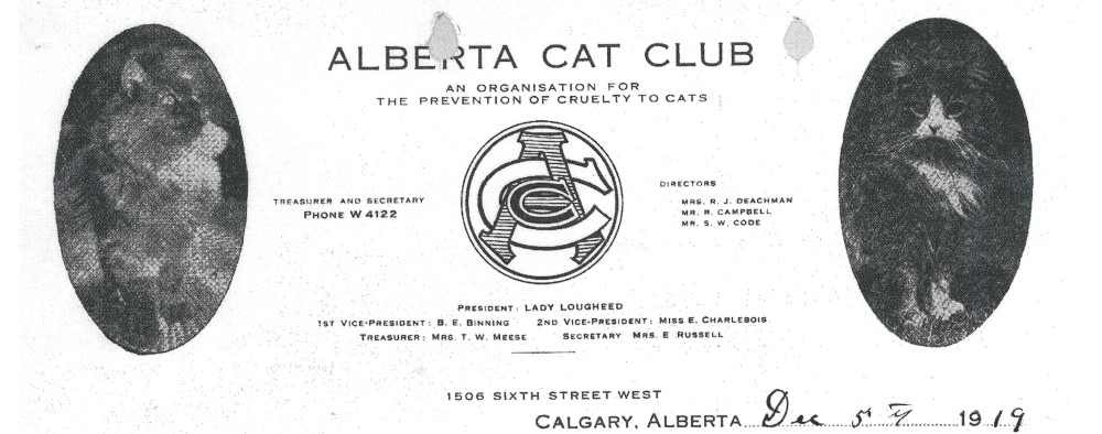 Black and white letterhead for the Alberta Cat Club. The club's board members are listed, along with the club's logo in the middle. Text is surrounded by two black and white oval photographs of two long-haired cats.