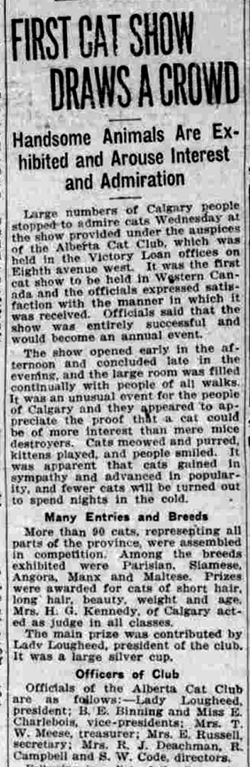"""Historic newspaper article with the title """"First Cat Show Draws A Crowd"""""""