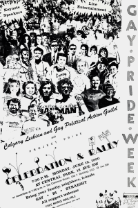 Black and white print poster advertising a Celebration and Pride Rally