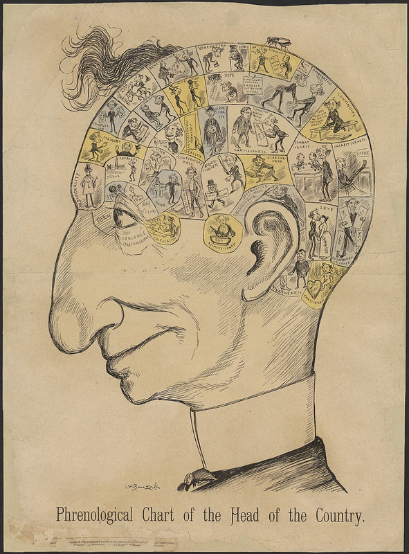"""Caricature portrait of Sir John A. Macdonald. Line drawing of a man's head, showing different sections that show his thoughts. Decription below reads """"Phrenological Chart of the Head of the Country."""""""